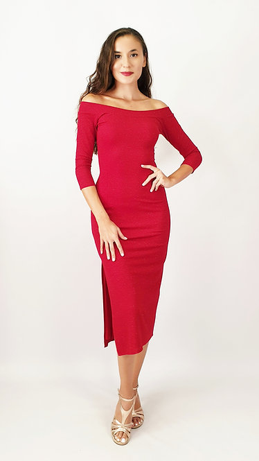 Aphrodite -  Off Shoulder Red Shiny Tango Dress