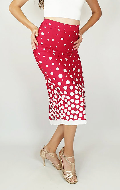 White Dotted Red Tango Skirt