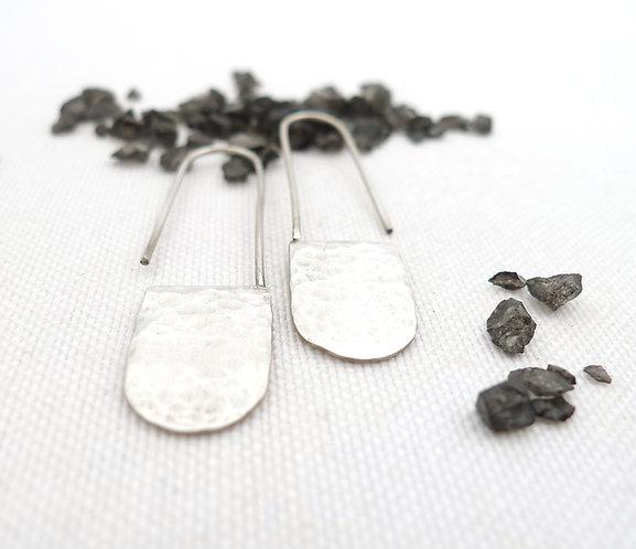 'Anatolian' silver hammered handmade rigid dangle earrings