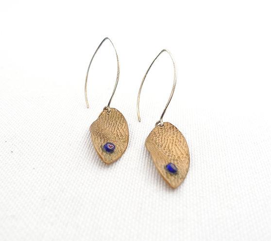 'lemon leaf' mixed metal and media textured handmade dangle earrings