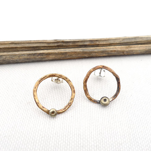 'dotted circle' mixed metal hammered handmade stud earrings