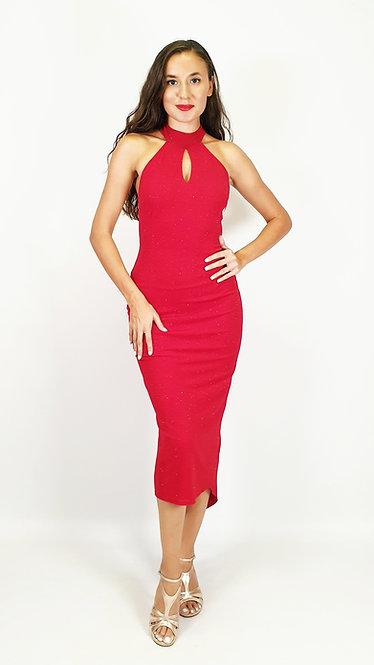 Aphrodite - Red Halterneck Shiny Tango Dress