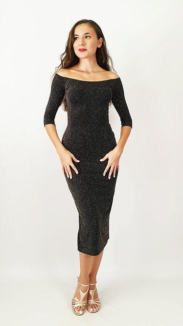 Penia -  Off Shoulder  Black  Shiny Tango Dress