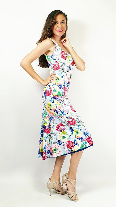 Hong Kong Heaven - Floral & Sax Blue Tango Dress