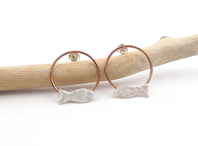 'on the circle' mixed metal hammered handmade stud earrings
