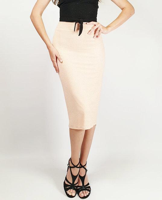 Freya - Salmon Pink Shiny Tango Skirt