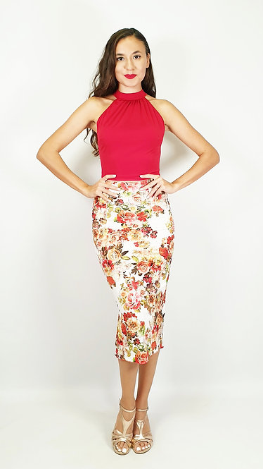 Top: Eva Red - Skirt: Casablanca Wind Floral & Red