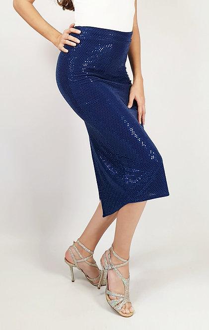 Aurora - Dark Blue Sequin Tango Skirt
