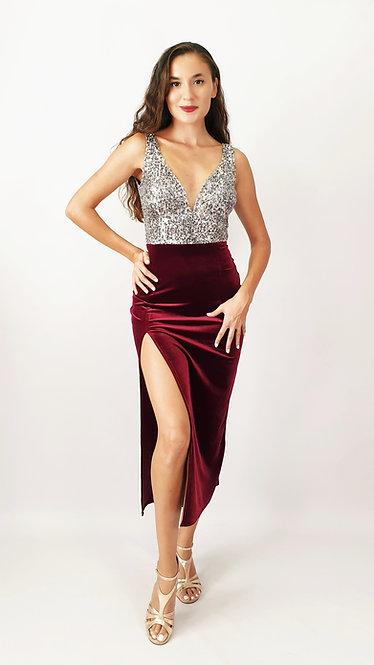 Noelia - Maroon Velvet with Platinium Sequin Tango Show Dress