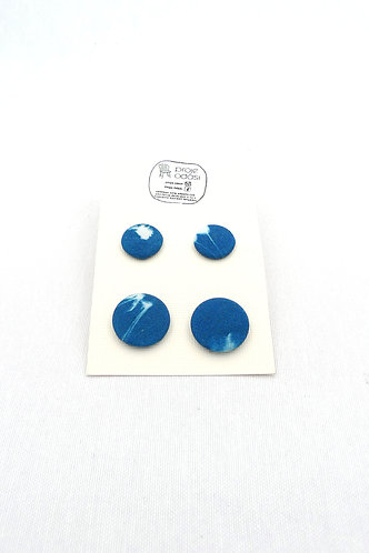 'blue buttons' digitilized cyanotype print covered buttons