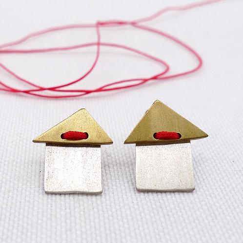 'maisonette' mixed metal and media handmade stud earrings, unisex