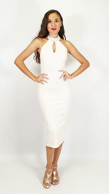 Diana - Ivory Halterneck Shiny Tango Dress
