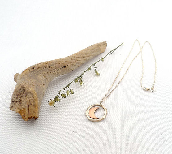 'in the circle frame, crescent ' mixed metal handmade necklace