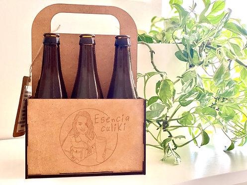 Caja de cervezas con ilustración