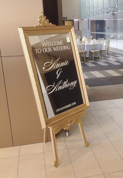 Gold Luxe Mirror with Welcome sign