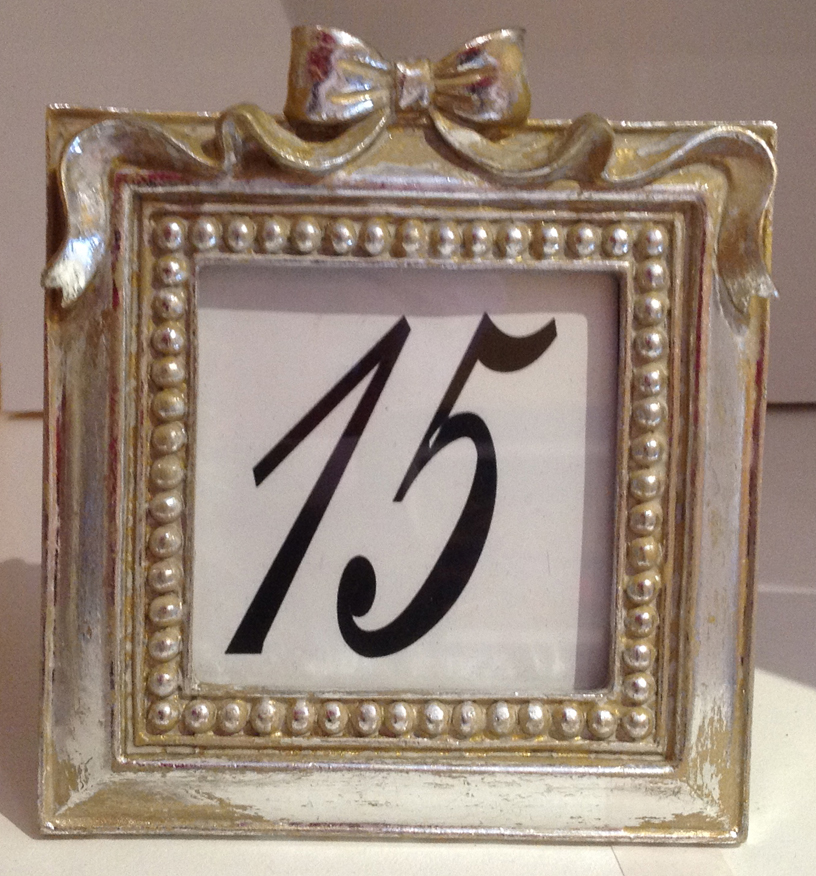 Silvery gold framed table numbers