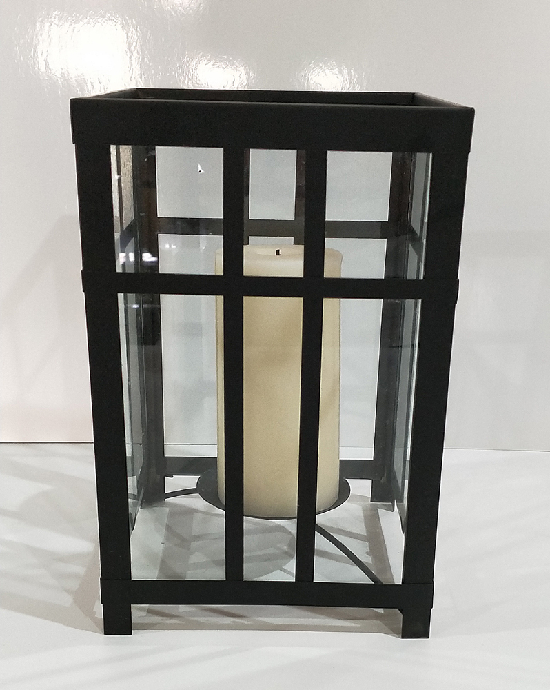 Black metal and glass lantern