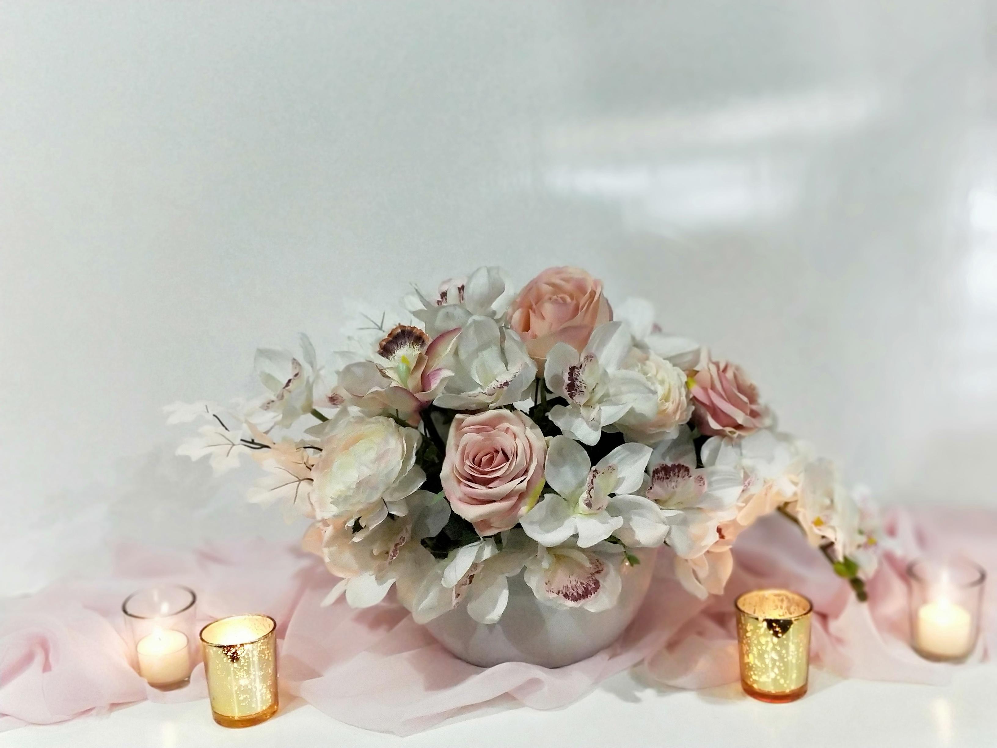 Cymbidium Orchids and Roses Centrepiece.