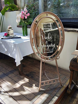 Oval Mirror Welcome Sign