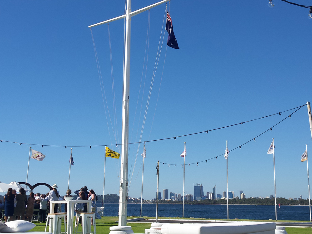 View of Perth City skyline from South of Perth Yacht Club