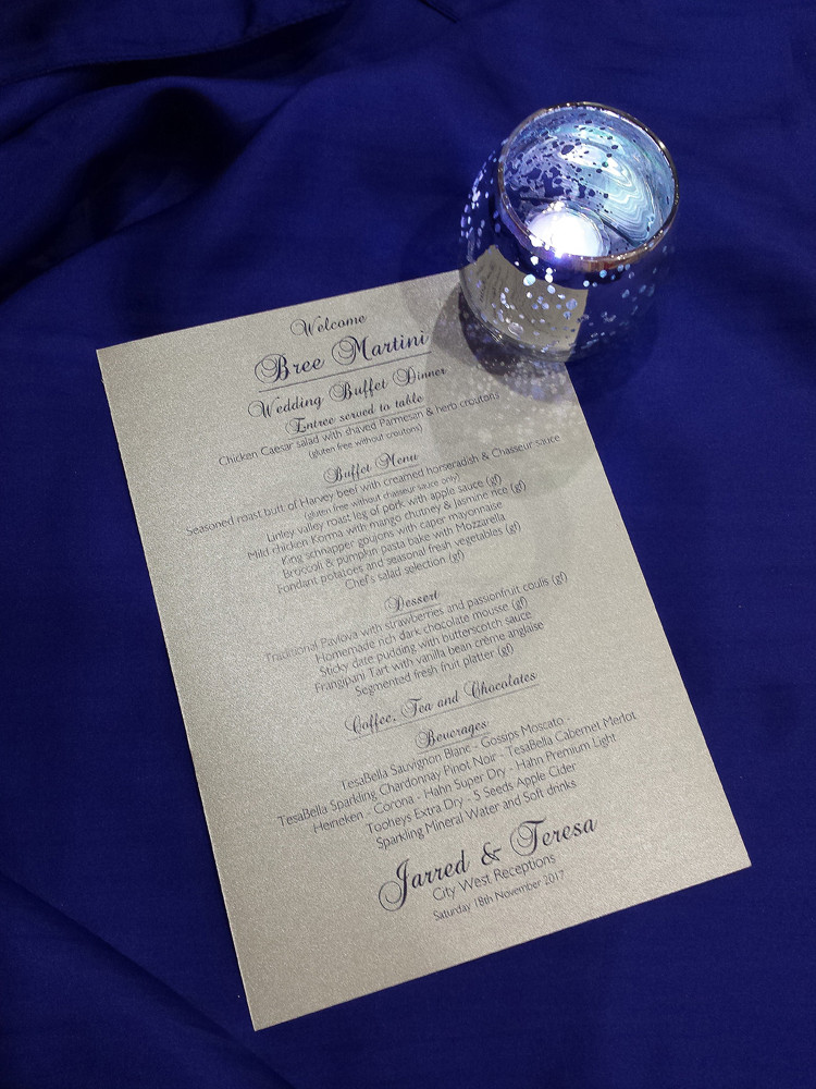 A5 Table Menus on Silver Card