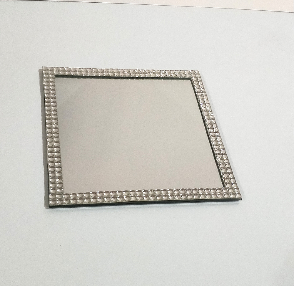 Square mirror with diamante edge plate