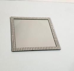 Square mirror with diamante edge plate