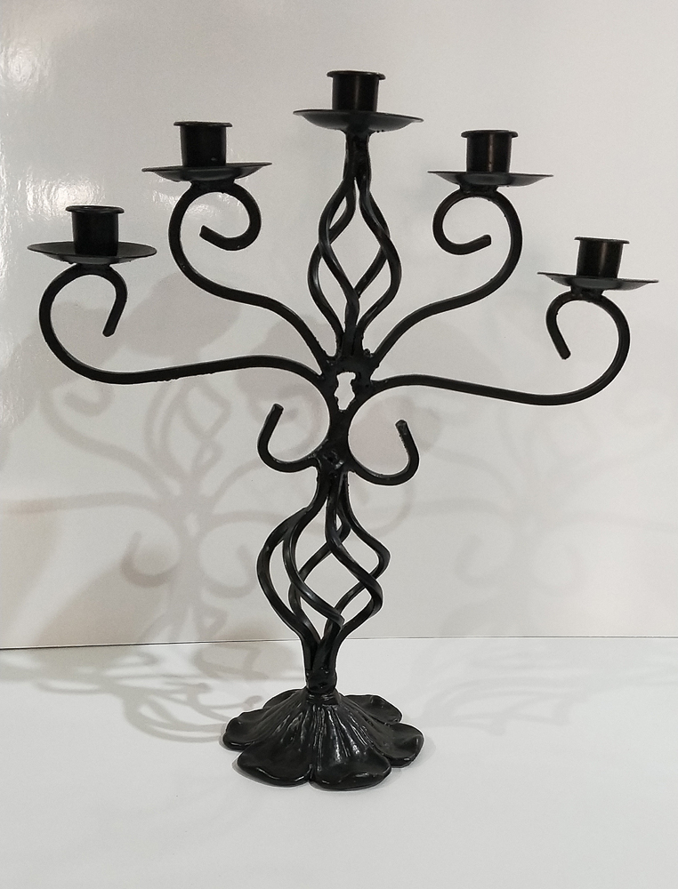 Black wrought iron candelabra