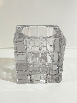 Heavy cut glass candle holder