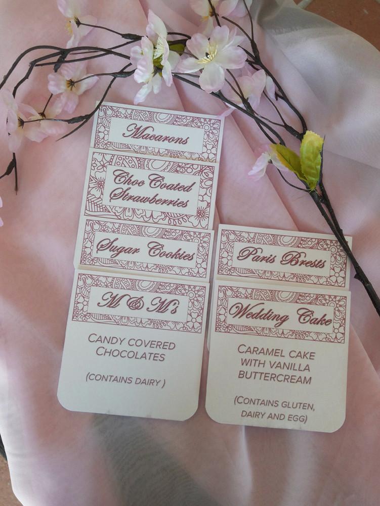 Custom designed labels for Dessert Buffet