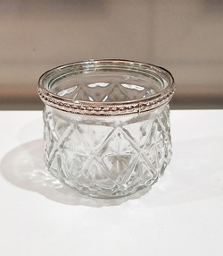 Cut glass with metal rim