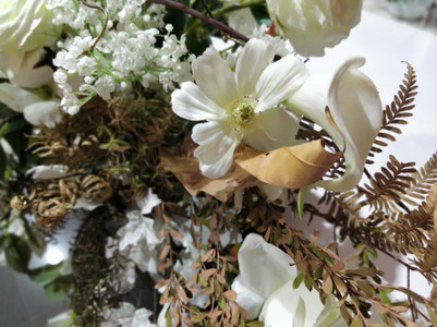 Silk florals with dried foliage
