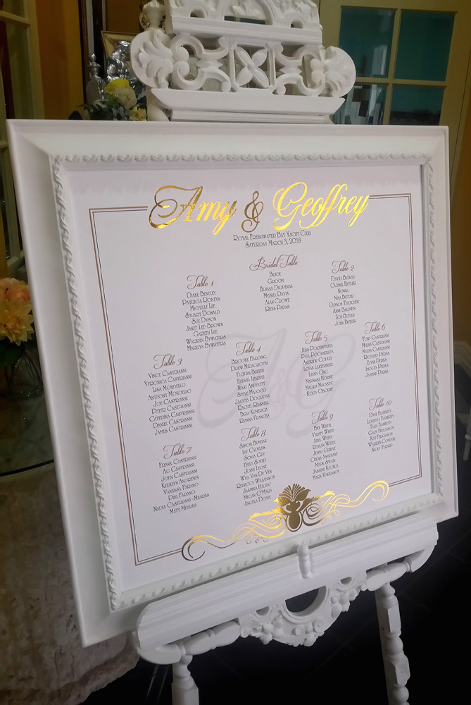 Custom design seating plan and print in the white frame and white Gothic easel
