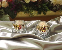 Round silver mercury candle holders