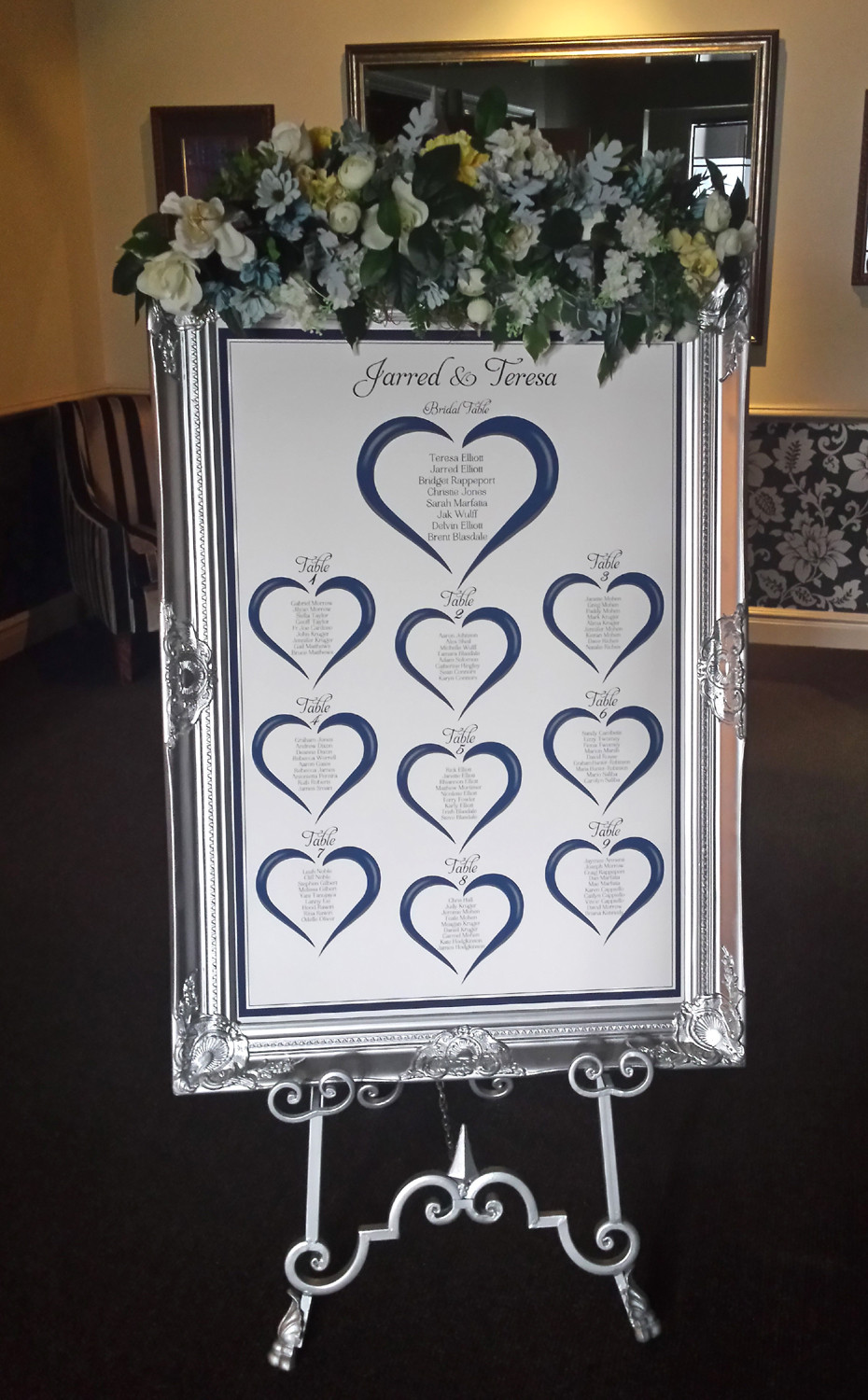 Seating Plan Design in Silver Venetian Frame and Silver Wrought Iron Easel