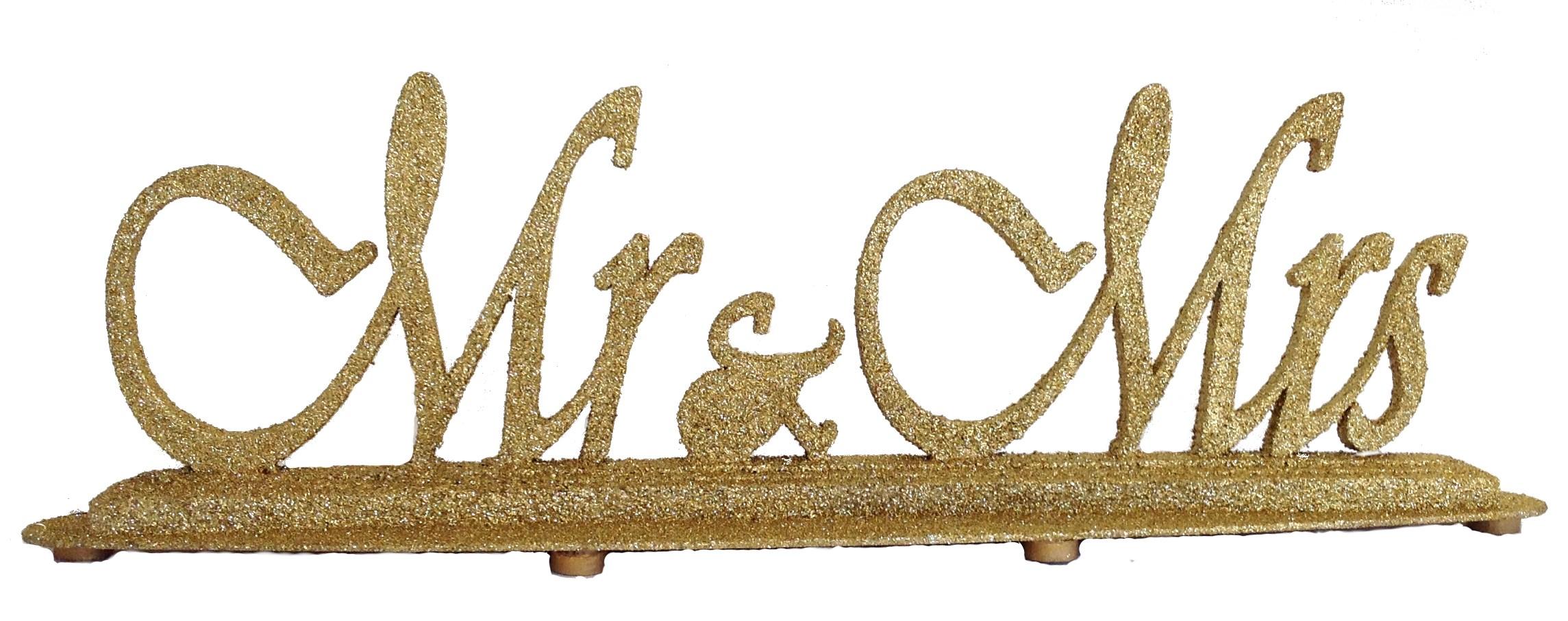 Gold Glitter Mr & Mrs