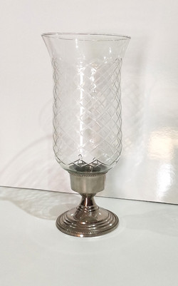 Cut glass Hurricane on silver stand