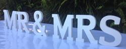White opalescent Mr & Mrs