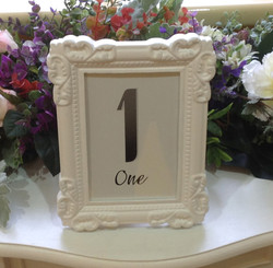White framed table numbers