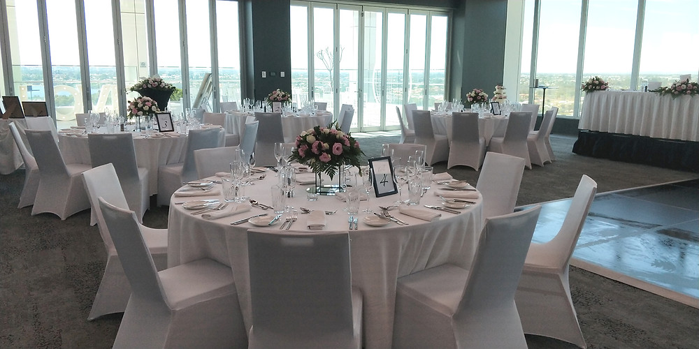 Superb City views for the rooftop at Aloft Hotel, the choice for Emma and Dane's wedding