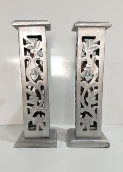 Silver Carved wood hurricane