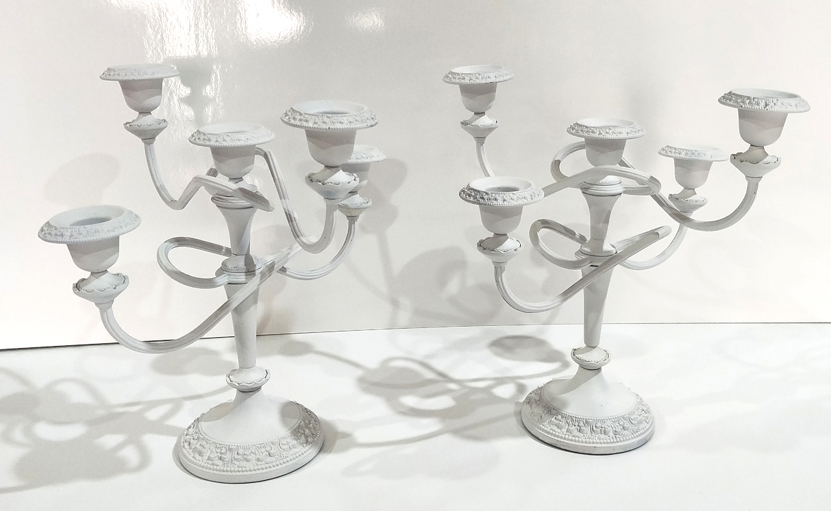 White Wrought Iron Candelabra