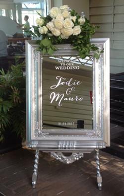 Renaissance Mirror Welcome sign