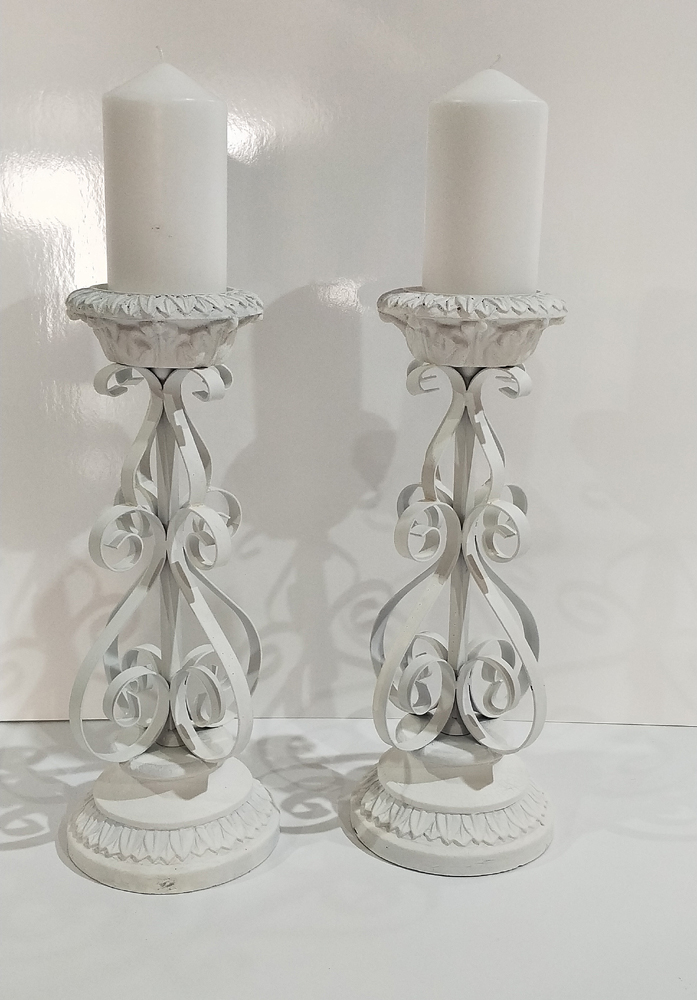 Parisian White Wrought Iron Candelabra