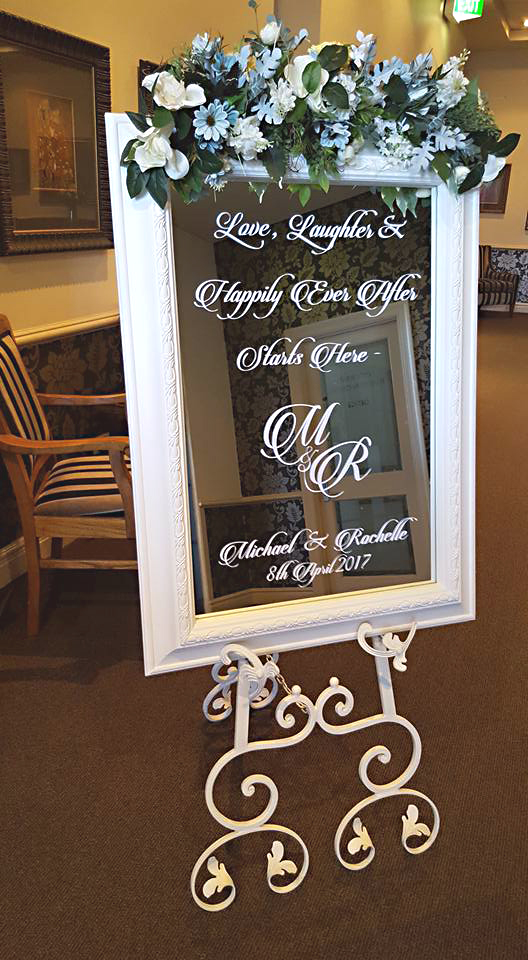White Vintage Mirror Welcome Sign