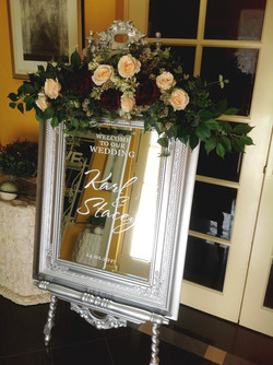 Silver Mirror with Welcome Sign