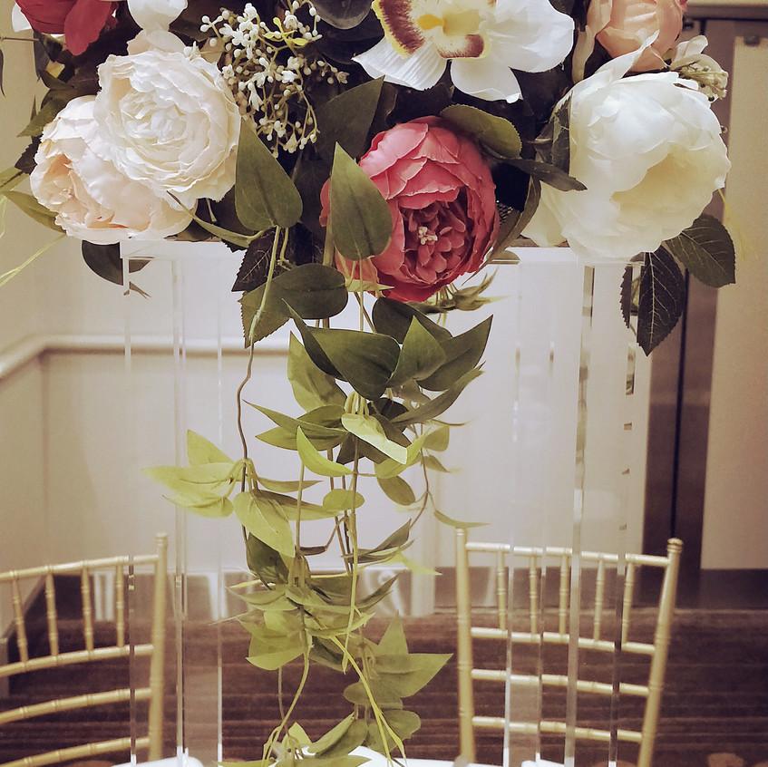 Flower stand with silk florals