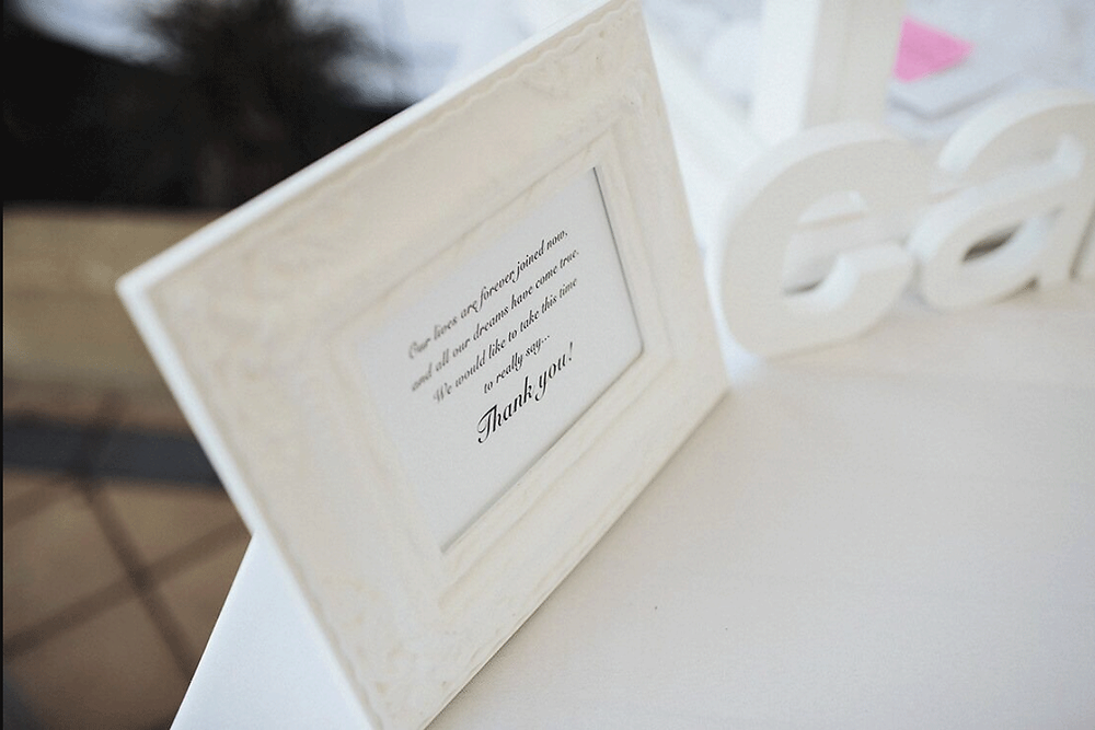 Supplied with all our wishing well hire is a printed framed thank you message