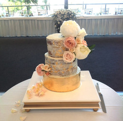 Square gold and white Cake Stand