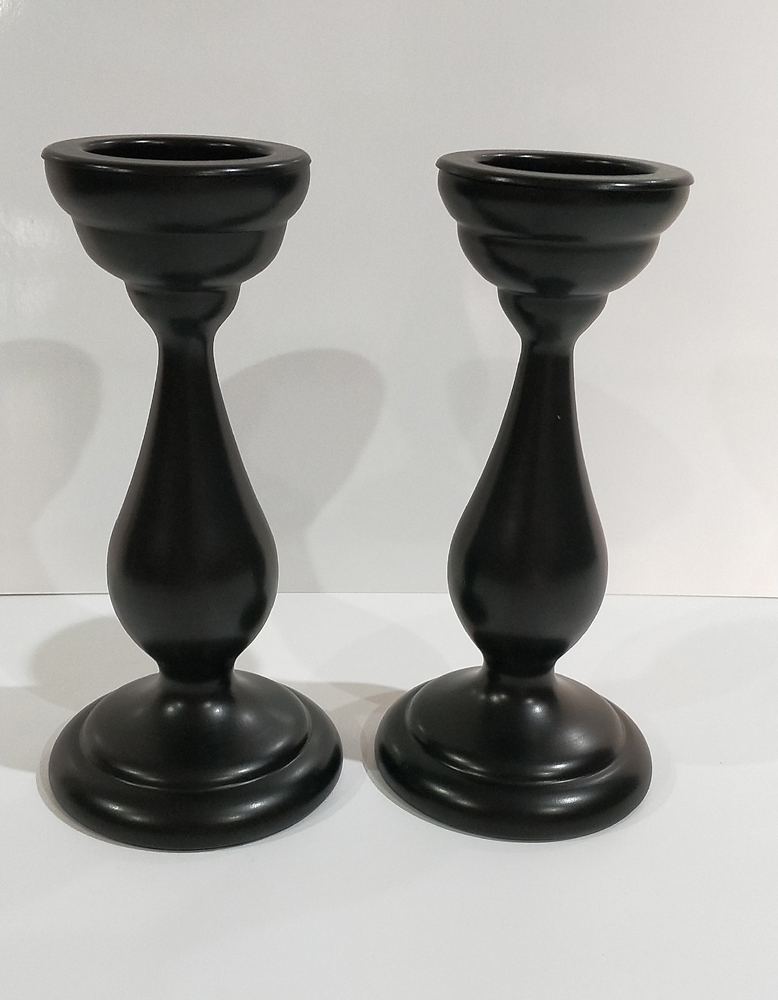 Black Wood Candlesticks